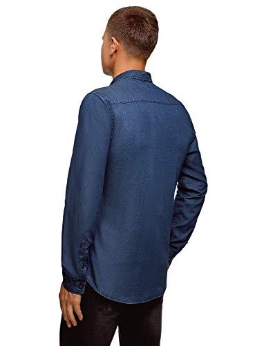 petto di Ultra uomo nel blu con jeans 7500w Camicia tasca Oodji 8dxaB8nq