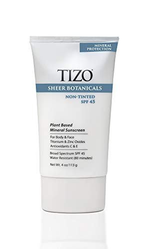 TIZO Sheer Botanicals Mineral Sunscreen for Face and Body with SPF 45, Non-Tinted, 4 Oz. (Best Sunscreen For Face And Body)