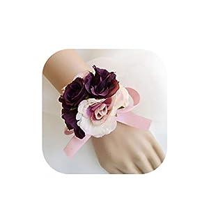 Many Color Bride Bridesmaid Hand Wrist Flower Wedding Flower Girl Bracelet Bridal Wristband Corsage Accessories Supplies 17