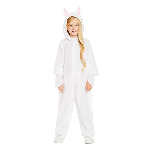 White Rabbit Pajama Costume - Halloween Kids Hooded Onesie with Bunny Ears, L -