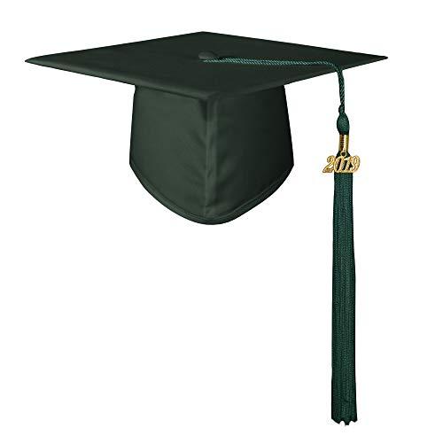 GraduationMall Unisex Adult Matte Graduation Cap with 2019 Tassel Forest Green