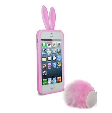 Bunny Skin Case - Newstore Cute Lovely Pink Bunny Rabbit Silicone Soft Case Cover Skin for Apple iPhone 5/5S with Furry Tail