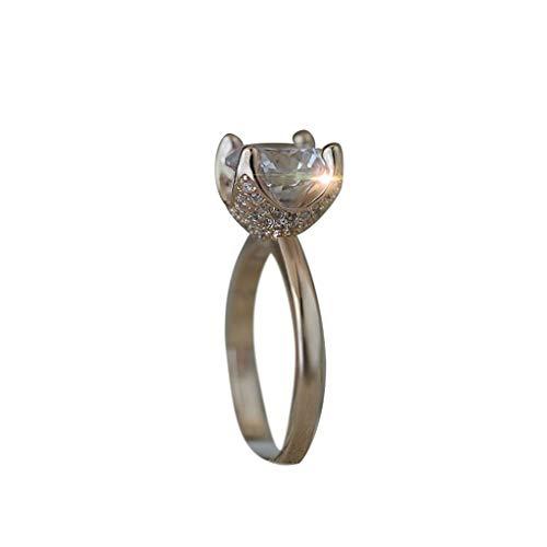 [해외]Engagement Band Ring for Women Rose Gold Floral Round Rhinestone Vintage Minimalist Ring Jewelry Gift Size 6-10 / Engagement Band Ring for Women Rose Gold Floral Round Rhinestone Vintage Minimalist Ring Jewelry Gift Size 6-10