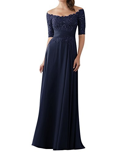 Evening Dresses Mother of The Bride Gowns with Sleeves Lace Long Chiffon Beaded Navy Blue US12