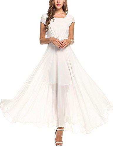Zeagoo Women's Casual Cap Sleeve Ruched Chiffon Bridesmaid Maxi Dress, White, XX-Large (Chiffon Maxi Dress With Sleeves Plus Size)