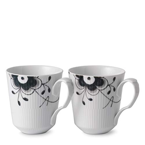 Royal Copenhagen Black Fluted Mega Mug Set/2 12.25 oz ()