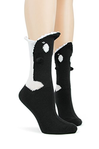 Foot Traffic, Womens 3D Socks, Cozy 3-Dimensional Fun, Killer Whale (Size 4-10)