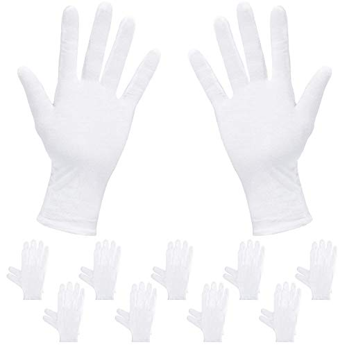 (Rovtop White Gloves - 20Pcs/10Pairs White Gloves Cotton, Cotton Gloves Comfortable and Large for Silver Coin Jewelry Inspection, Cosmetic Moisturizing Eczema Hand Spa)