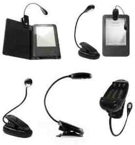 Negro LED Clip-On lectura lámpara de luz para Todos Kindle de ...