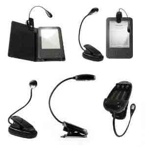 Negro LED Clip-On lectura lámpara de luz para Todos Kindle de ...