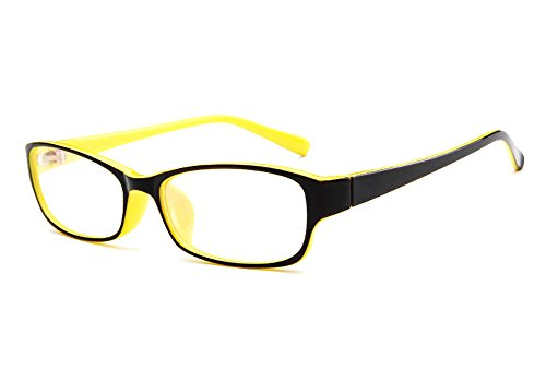 Agstum Kids Classic Rectangle Optical Frame Girls Boys Glasses Clear Lens (Black / - Black And Yellow Glasses