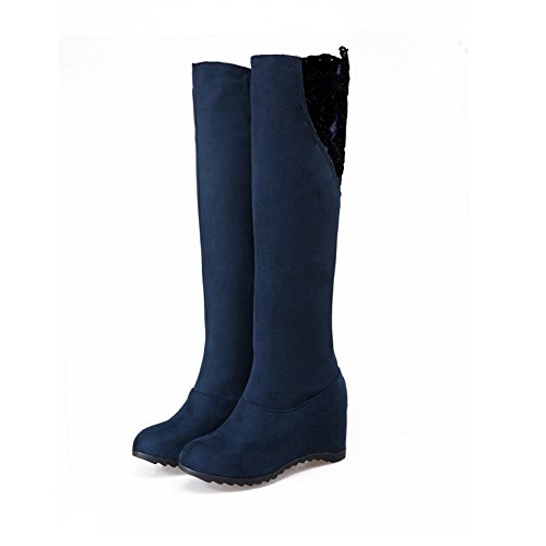 Boots Toe Women's Pull High Allhqfashion on top Closed Blue Heels Frosted Round Kitten wPpSRqgx