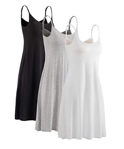(HONFON Womens U Neck Superelastic Camisole Built in Padded Bra Full Slip Adjustable Spaghetti Strap Grey White Black)