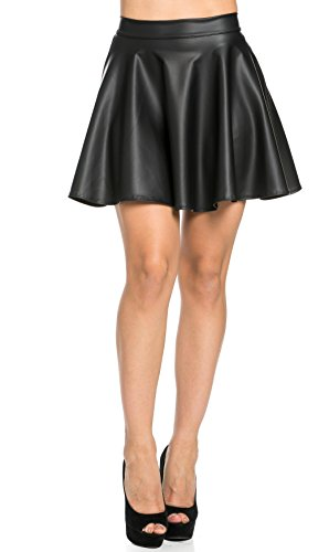 [High Waisted Faux Leather Skater Skirt in Black] (Soho Black Leather)