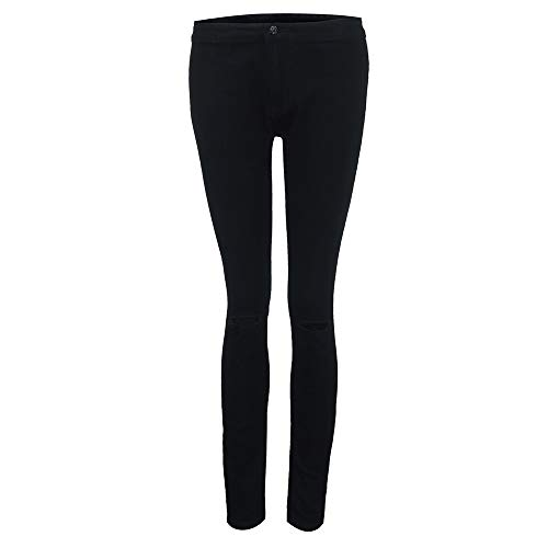 Denim Di Lunghi Velluto Donna Leggings Leey Nero A Matita Jeans Elastico Pantaloni Vita In Skinny Alta wOgqxvC