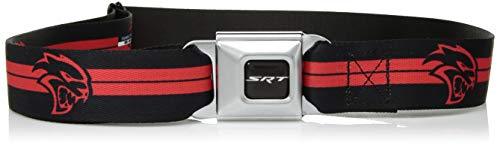 Buckle-Down Men's Seatbelt Belt Viper SRT Hellcat Regular, Dodger Stripe Logo Black/red, 1.5