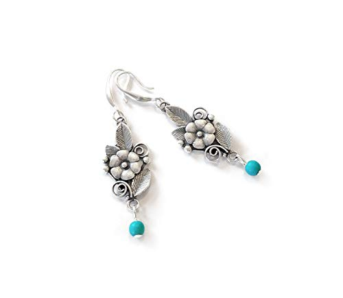 Vintage Style Floral Drop Earrings Sterling Silver Plated with Tiny Turquoise Gemstones ()