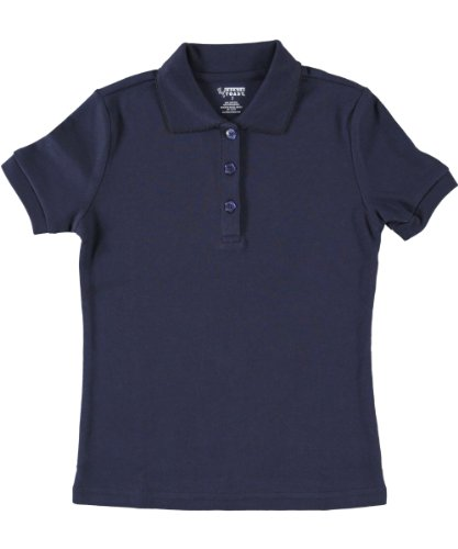 French Toast Girls Short Sleeve Fitted Knit Polo with Picot Collar