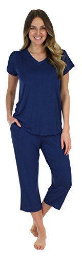 Pajama Heaven Navy Short Sleeve V-Neck with Capris (PHBJ1730-2055-XL)]()