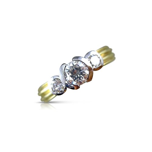 Milano Jewelers .60CT DIAMOND 14KT TWO TONE GOLD 3 STONE SEMI BEZEL ENGAGEMENT RING #1541 3 Stone Semi Bezel