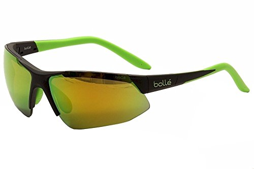 - Bolle Breakaway Sunglass with Brown Emerald Oleo AF Lens, Matte Black/Lime
