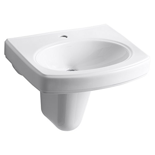 KOHLER K-2035-1-0 Pinoir Wall-Mount Bathroom Sink with Single-Hole Faucet Drilling, White