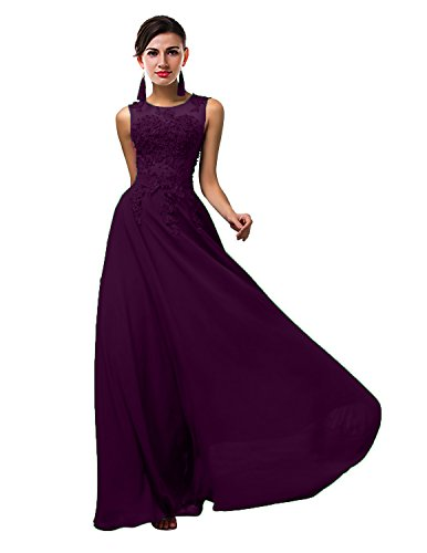 VaniaDress Women Elegnat Lace Sheer Neck Bridesmaid Evening Dress Prom Gown V002LF Grape Purple US26W from VaniaDress