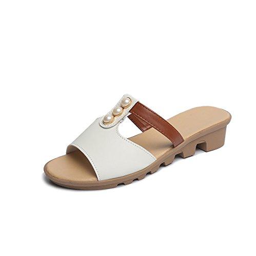 ZPPZZP Ms sandali pantofole stile Coreano trascinare pendenza 37EU bianca spessa