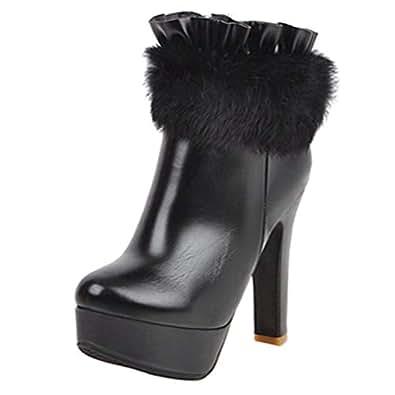 FANIMILA Women Sexy Platform Boots Party Block High Heels Ankle Booties Zipper Autumn Winter Shoes Black Size 33 Asian