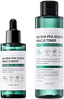 Somebymi AHA BHA PHA Miracle Set Anti-acne Exfoliation Hydration Brightening (Toner + Serum) (Best Aha Bha Serum)