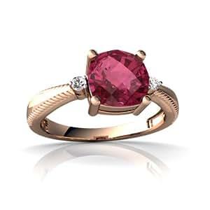 14kt Rose Gold Pink Tourmaline and Diamond Cushion Cushion Rope Ring - Size 4.5