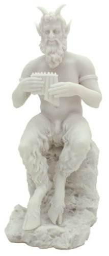 9.5 Inch Pan Greek God of Wild & Nature Sitting with Flute Statue Figure - Pan Statue