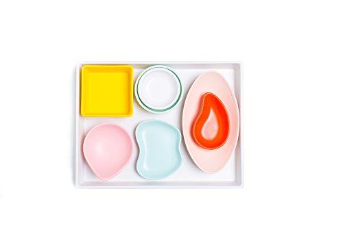 Sugar & Cloth White Melamine Tray and Multicolor Condiment Cups Set, 8 Pieces ()
