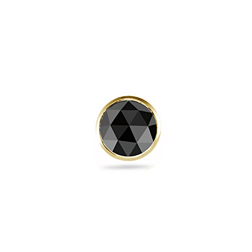 (0.43-0.52 Cts Round Rose Cut AA Black Diamond Mens Stud Earring in 14K Yellow Gold )