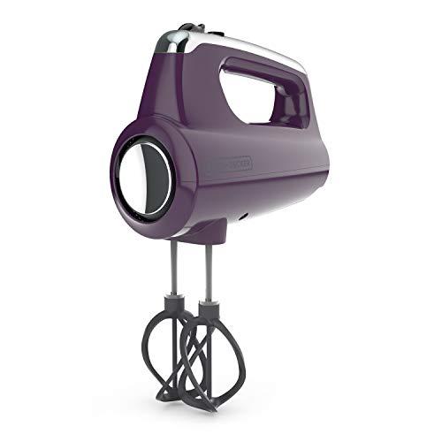 BLACK+DECKER MX600P Helix Performance Premium 5-Speed Hand Mixer, 5 Attachments + Case, Purple by BLACK+DECKER