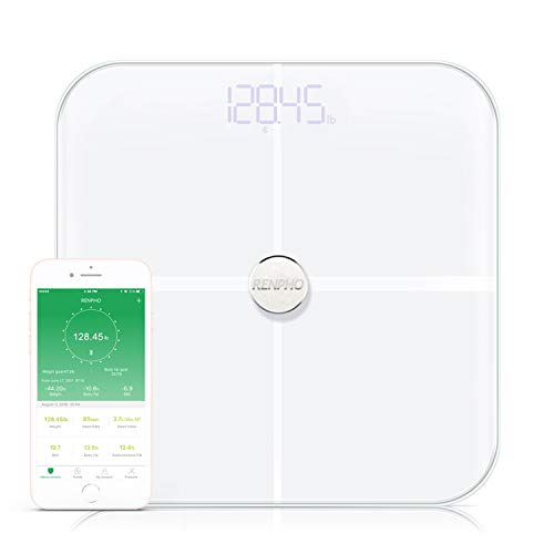 RENPHO Smart Heart Rate Body Fat Scale Bluetooth Digital Bathroom Scales Wireless Weight Scale BMI Scale, 15 Essential Body Composition Analyzer with Smartphone App, 396 lbs - - Wireless Scale Digital