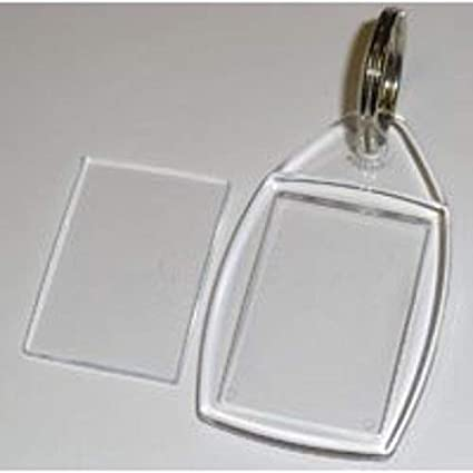 Acrílico Blanco 30 Transparente Plástico Llaveros Con Arillo 24mm x 35mm Insertos P5