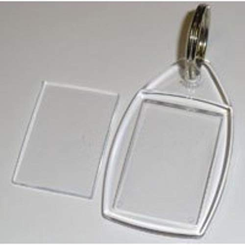30 Blank Acrylic Clear Plastic Keyrings With Split Ring 24mm x 35mm Insert P5 Madaboutink