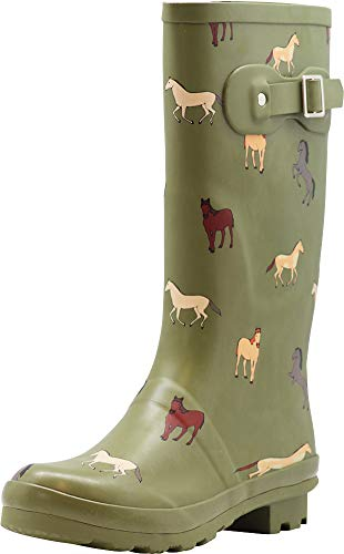 NORTY - Womens Hurricane Wellie Horse Print Matte Mid-Calf Rain Boot, Olive 40935-10B(M) US