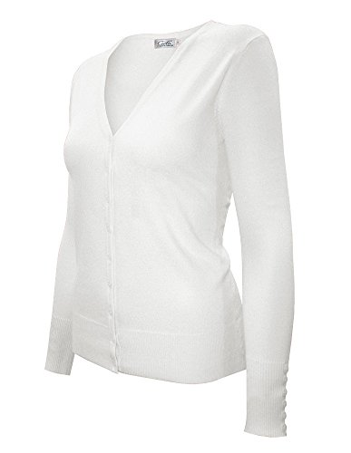 (Cielo Women's Knit Silk Soft Cardigan Sweater, V-neck (Large, SW205 Ivory) )