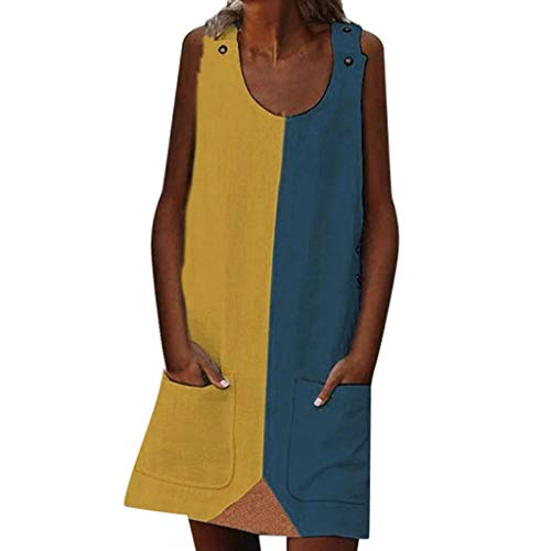 (HYIRI Women's Tuxedo Summer Street Leisure Sleeveless Spliced Pocket Large Size Dress)