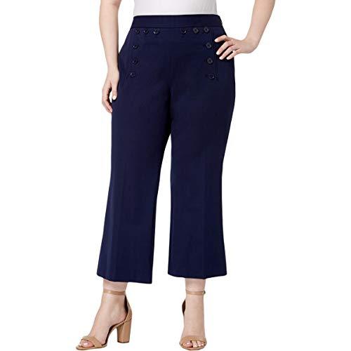 Michael Michael Kors Womens Plus Cropped Embellishment Sailor Pants Navy 18W