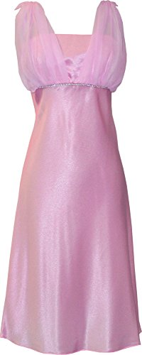 PacificPlex Satin Chiffon Prom Dress Holiday Formal Gown Bridesmaid Crystals Knee-Length Junior Plus Size, XS, Pink (Pacificplex Gowns)