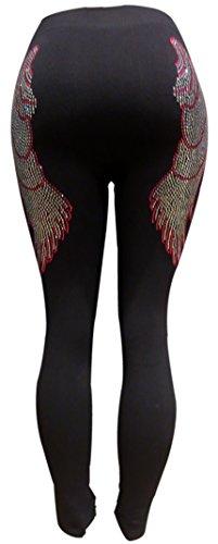 Pink & Silver Rhinestone Angel Wings Black Leggings (Priorities Pink Rhinestone)