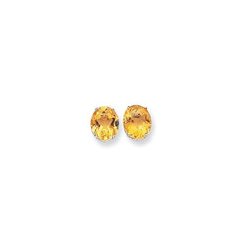 Best Birthday Gift 14k White Gold 12x10mm Oval Citrine Earrings
