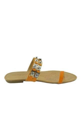 Kvinners Sommer Tå Ring Krystall Stud Pyntet Sandaler Skli På Lysbildet Stropp Flate Sandaler Sko (mgs-02) Orange