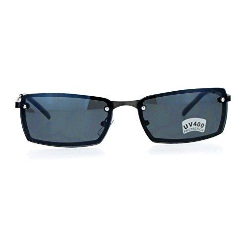 SA106 Mens Rimless Narrow Rectangular Agent Sunglasses Gunmetal - Sunglasses Smith Agent