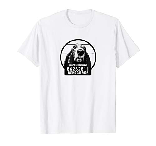 Funny Jail House Basset Hound T-Shirt - Eating Cat Poop