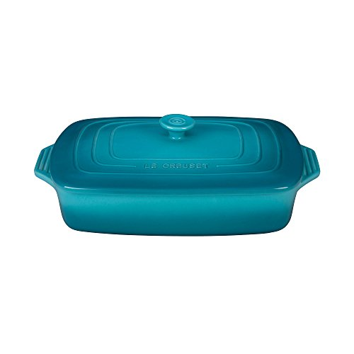 Le Creuset Stoneware Covered Rectangular Casserole, 12.5 by 8.5-Inch, Caribbean (Bakeware Covered Casserole)