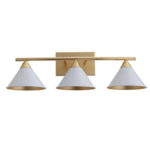 Yvette 3-Light Metal Vanity Wall Light, White/Gold by JONATHAN Y ()